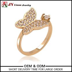 Made in China jewelry gold plated animal brass copper butterfly ring