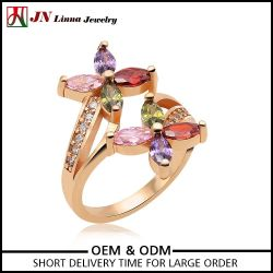 New design Luxury gold plated brass copper main material flower ring wholesale jewelry