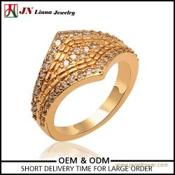 latest model copper pave setting gold plated jewelry ring