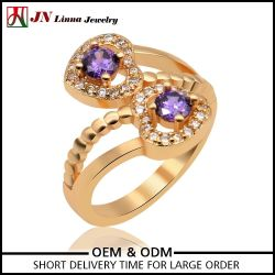 Wholesale Fashion red purple double heart shaped ring designs for girls