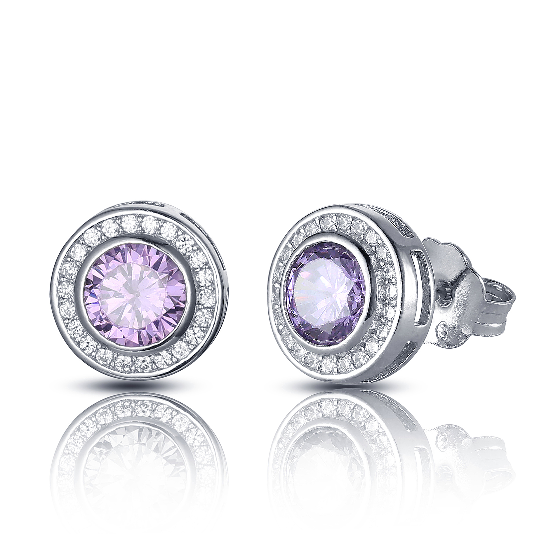 Colorful main stone engagement earring with pin in middle