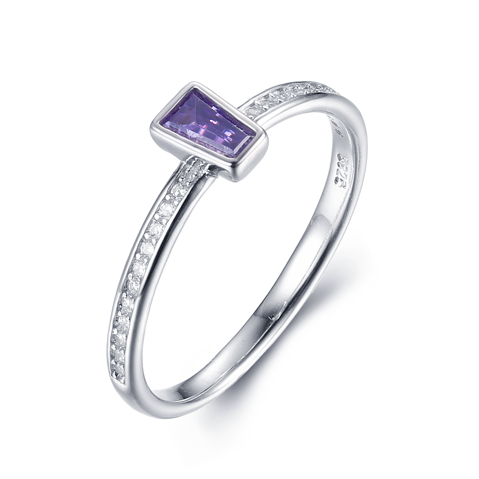 925 Silver simple ring with Box setting different color